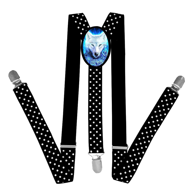 FVSD4VFD15 Nice Unique White Lone Wolf Suspender Unisex Suspender Adjustable Y-Back