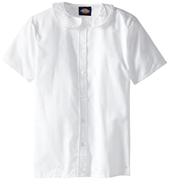 534e45b51cb Amazon.com  Dickies Girls  Short Sleeve Peter Pan Collar Blouse  School  Uniform Button Down Shirts  Clothing