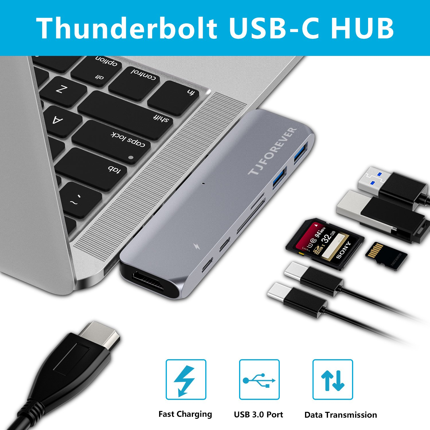 TJFOREVER USB C Hub Adapter 7 in 1 Dual USB Type-C Hdmi Docking Station Thunderbolt 3 Hub with 100W Power Delivery,USB-C,4K HDMI,2xUSB3.0,SD and MicroSD Card Reader for 2016/2017 MacBook Pro