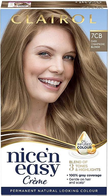Clairol Nice n Easy Crème, tinte permanente para el cabello con aceite de aspecto natural (embalaje puede variar), 7CB Rubio champán oscuro, 177 ml