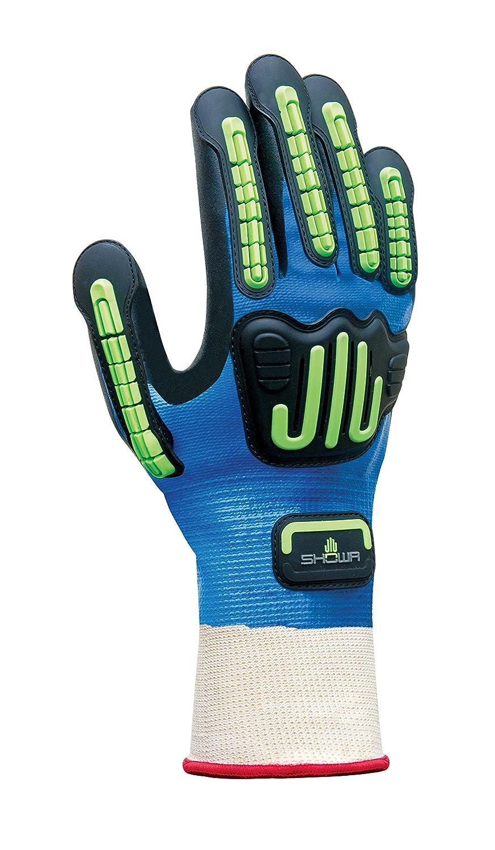 Multicolor Showa Guantes de protecci/ón Handschuh con reforzado espalda Azul//Negro//Verde//Blanco 377IP