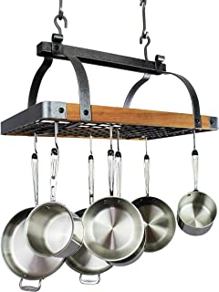 """product image for 30"""" Rectangle Hanging Pot Rack Hammered Steel w Tigerwood w 18 Hooks"""