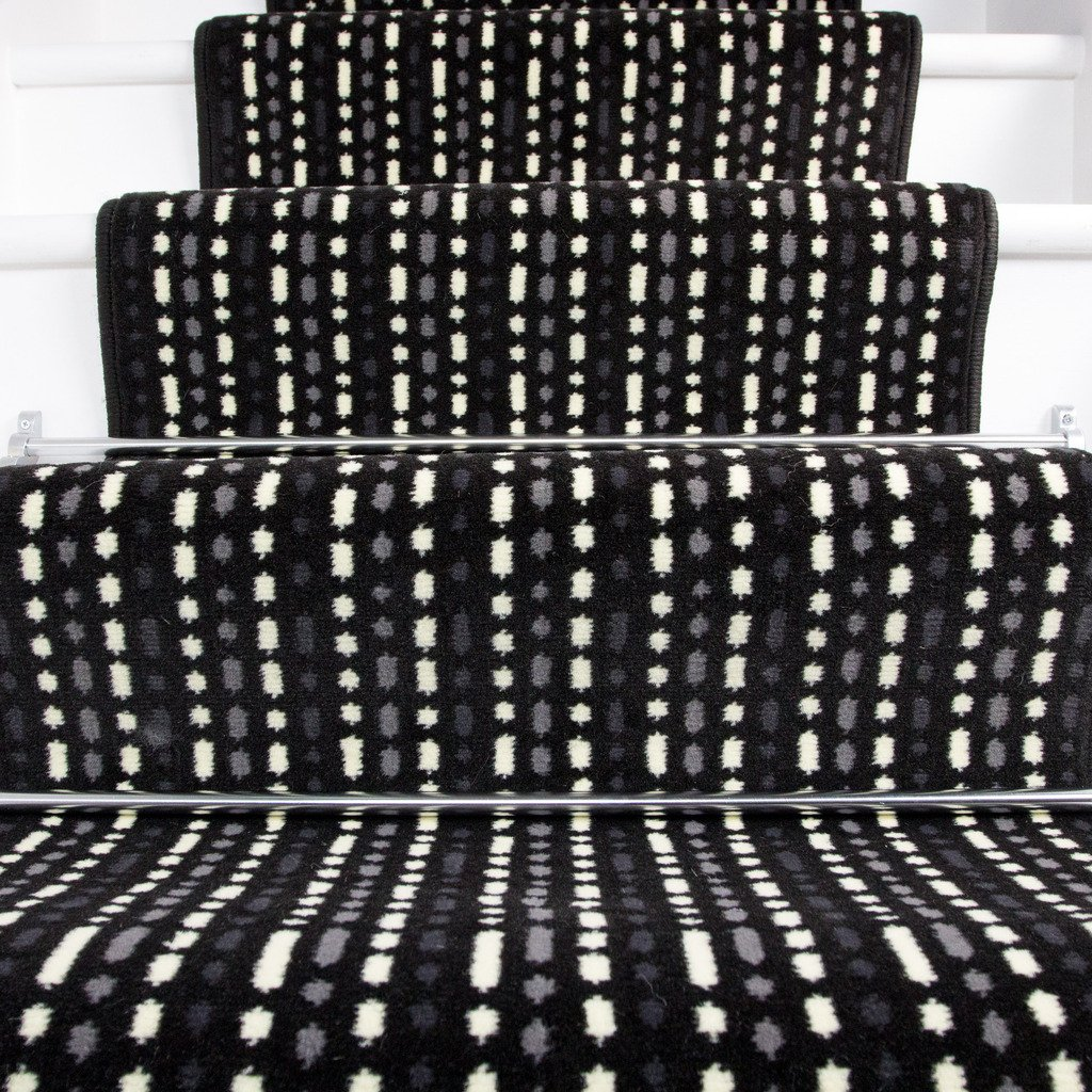 Lima Black White Grey Dashed Lines Stripy Design Stair Carpet in 2' - 3' Widths and 1' - 64' Lengths by The Rug House