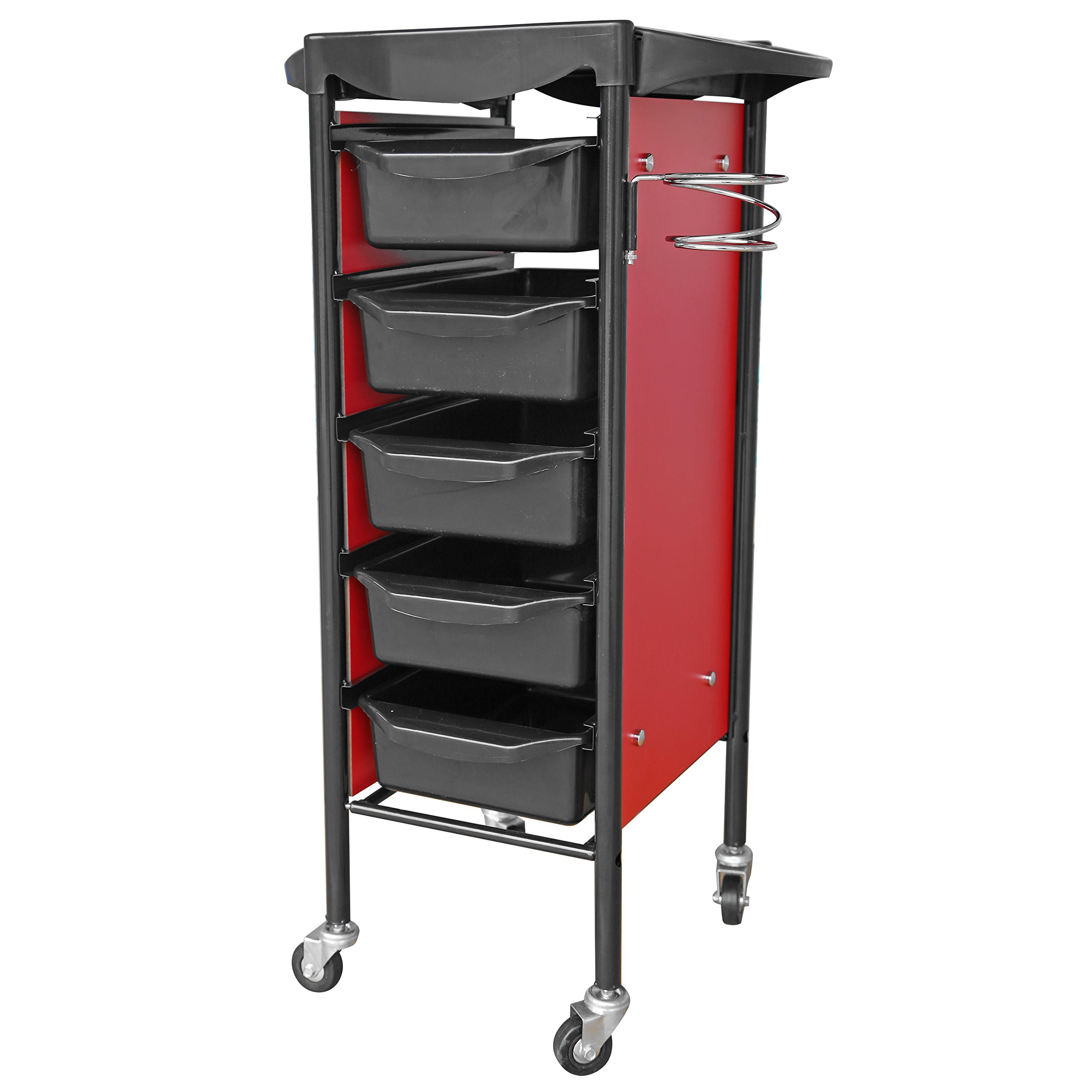 crownroyaljack Beauty Salon Rolling Trolley Storage Cart with 5 Removable Drawer, Red
