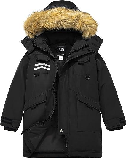 New Kids Boys Fur Hood Quilted Padded Waterproof Parka Multi Pocket Coat Jacket