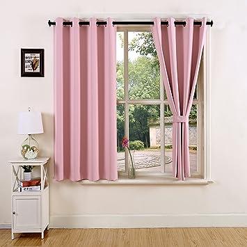 YOJA Room Darkening Light Pink Short Blackout Curtains For Girls  Room,52u0026quot;Wx63u0026quot;  Short Blackout Curtains