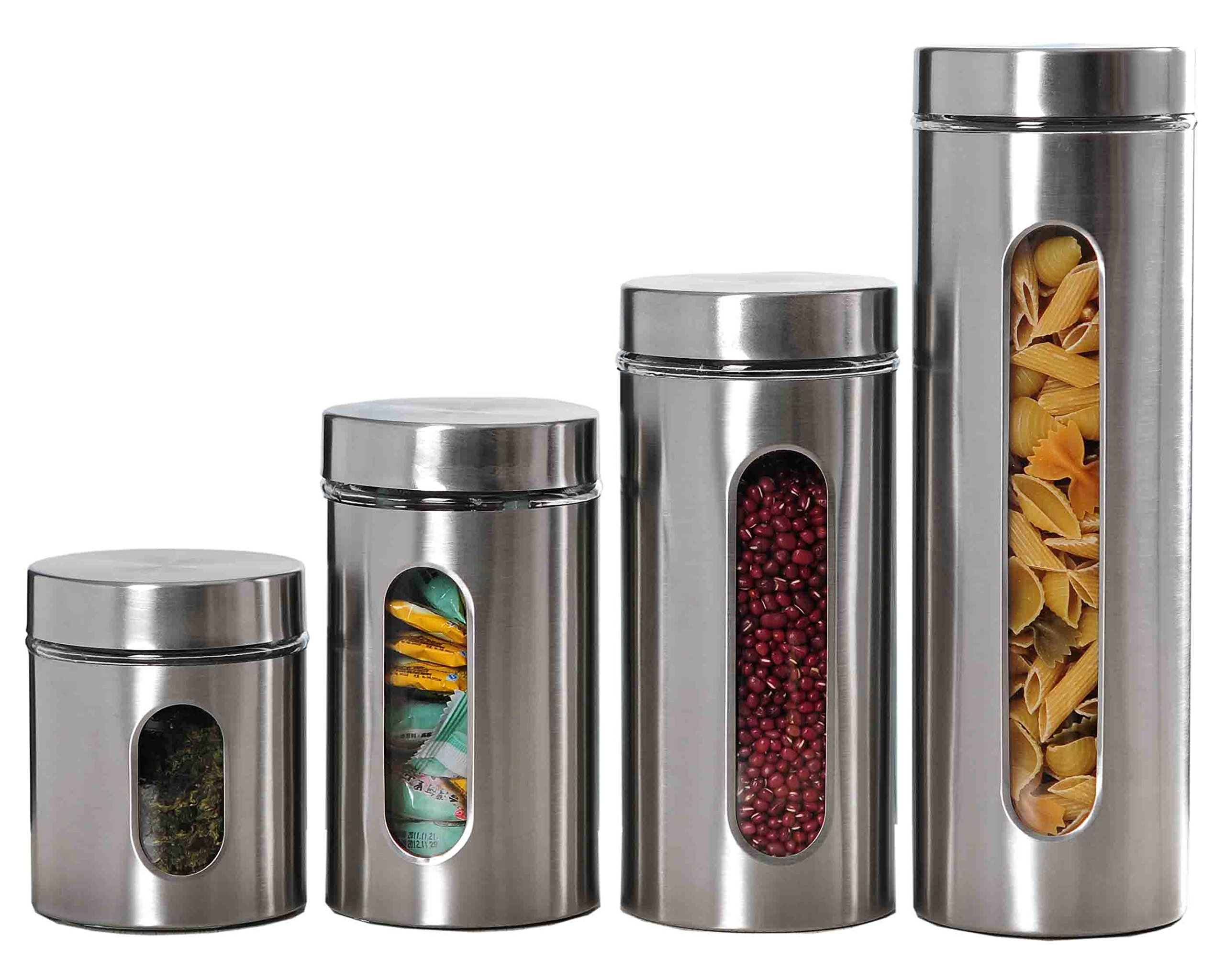 Home Basics 4 Piece Stainless Steel Canister Set with Windows
