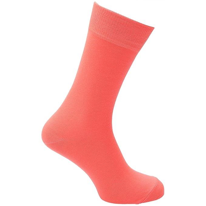 Calcetines lisos de colores fluorescente/Neón/llamativos para hombre (1 par)