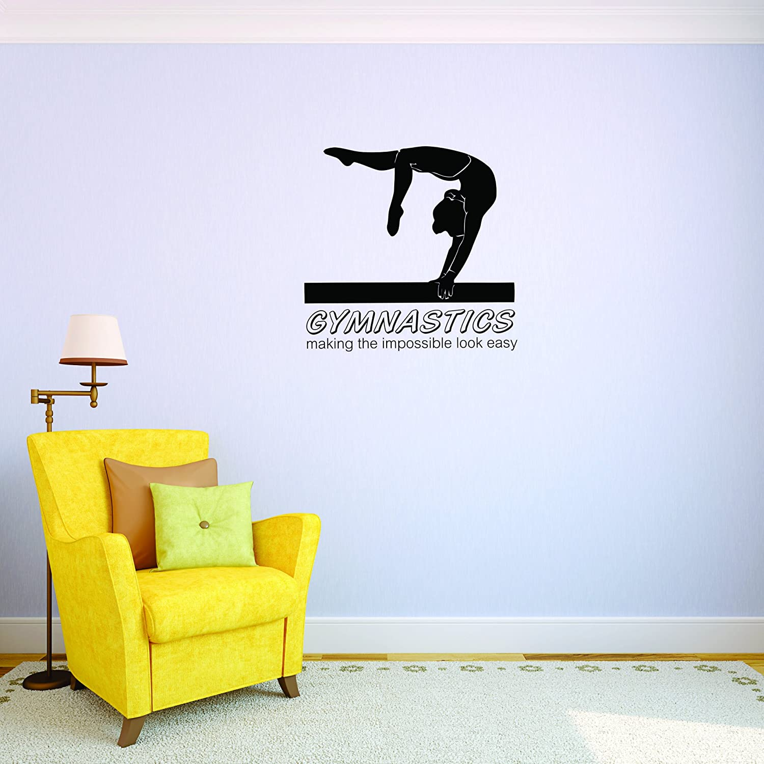 Design with Vinyl JER 2071 3 Hot New Decals Gymnastics Making The Impossible Look Easy Wall Art Size 20 Inches x 30 Inches Color Black 20 x 30