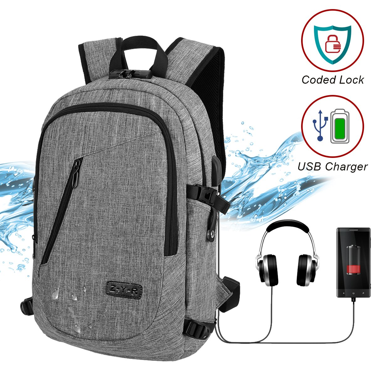 Travel Laptop Backpack Business Laptop Back pack Slim College School Bag with USB Charging Port Headphone interface Water resistant Anti Theft Computer Bag for Women and Men Fits up to 15.6 Inch Laptop DELONIX
