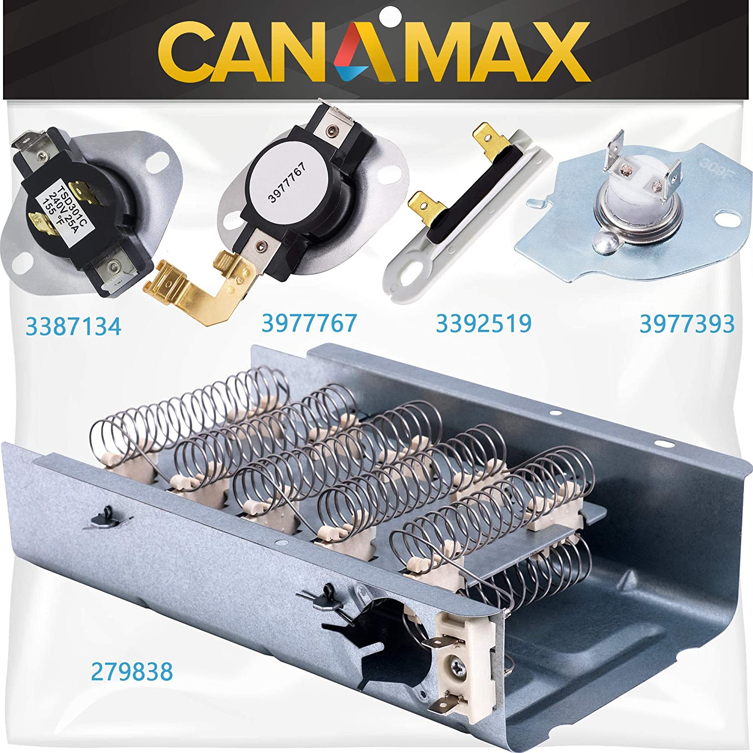 279838 Dryer Heating Element 3392519 3977393 Thermal Fuse 3387134 3977767 Thermostat Dryer Repair Kit Premium Replacement by Canamax - Compatible with Whirlpool Kenmore Samsung Dryers