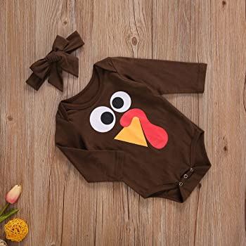 Cute Newborn Baby Boys Thanksgiving Cotton Romper Tops+Hat+Socks Outfits Clothes
