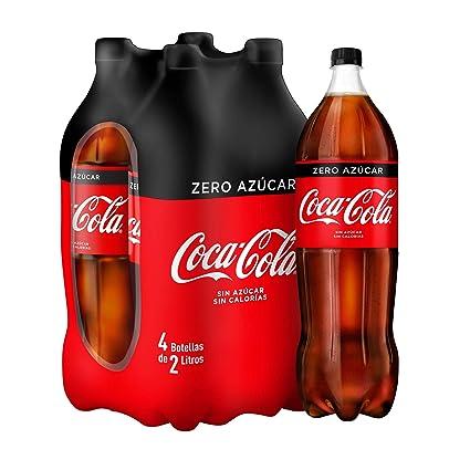 Coca-Cola - Zero, Refresco con gas de cola, 2 l (Pack de 4), Botella ...
