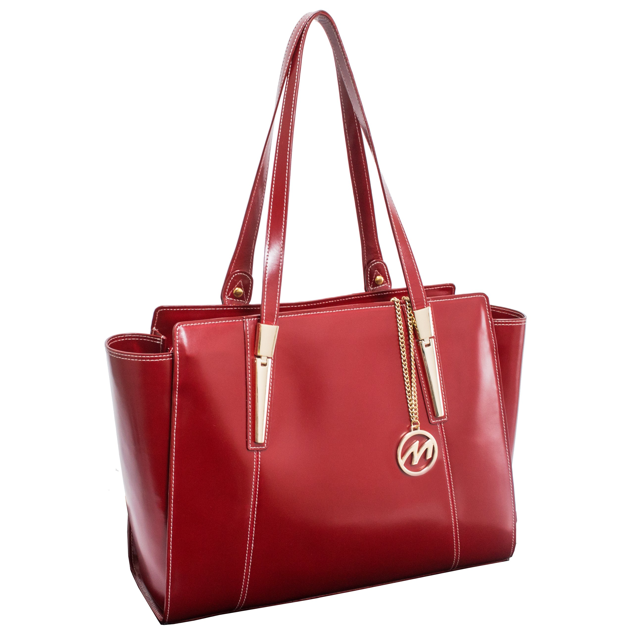 McKlein USA [Personalized Initials Embossing] Womens ALDORA Leather Shoulder Tote Bag in Red
