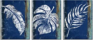Fushvre 3 Piece Leaves Canvas Wall Art Vintage Rustic Tropical Leaves with Indigo Blue Background Painting Prints Botanical Leaf Prints Decor for Living Room Bedroom Gallery Wrap Artwork Ready to Hang