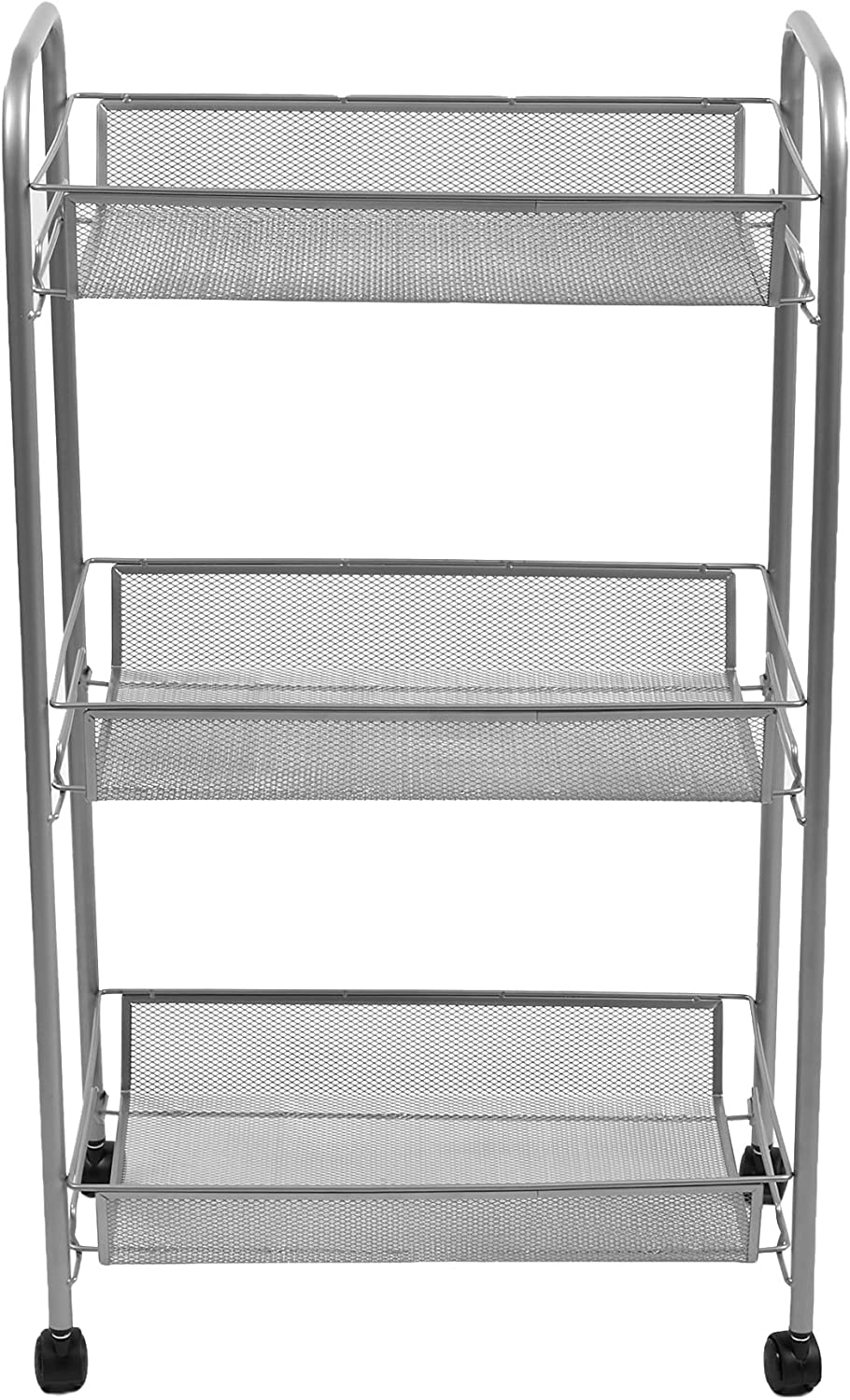 Mind Reader Mobile Office Cart, All-Purpose Utility Cart, Silver