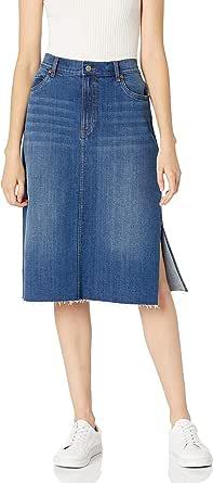 The Drop Lea Falda Midi Vaquera con Abertura Lateral Skirts Mujer