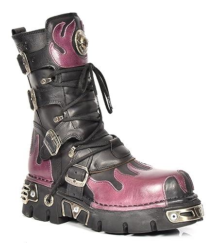 Noir De Chaussures Rock En Flamme Bottes Lacets Cuir Désign New nBIxqFv
