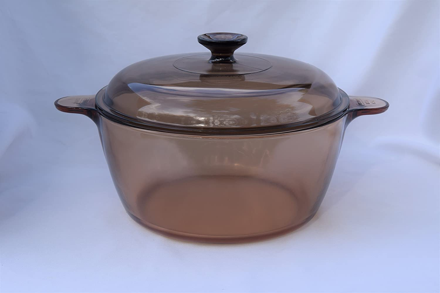 "Vintage Corning Ware Pyrex VISION Visions Visionware AMBER ALL GLASS 4.75 Quart/4.5 Litre 10 1/2"" inch SAUCEPAN DUTCH OVEN ROASTER PAN + Cover/Lid stamped MADE IN USA"