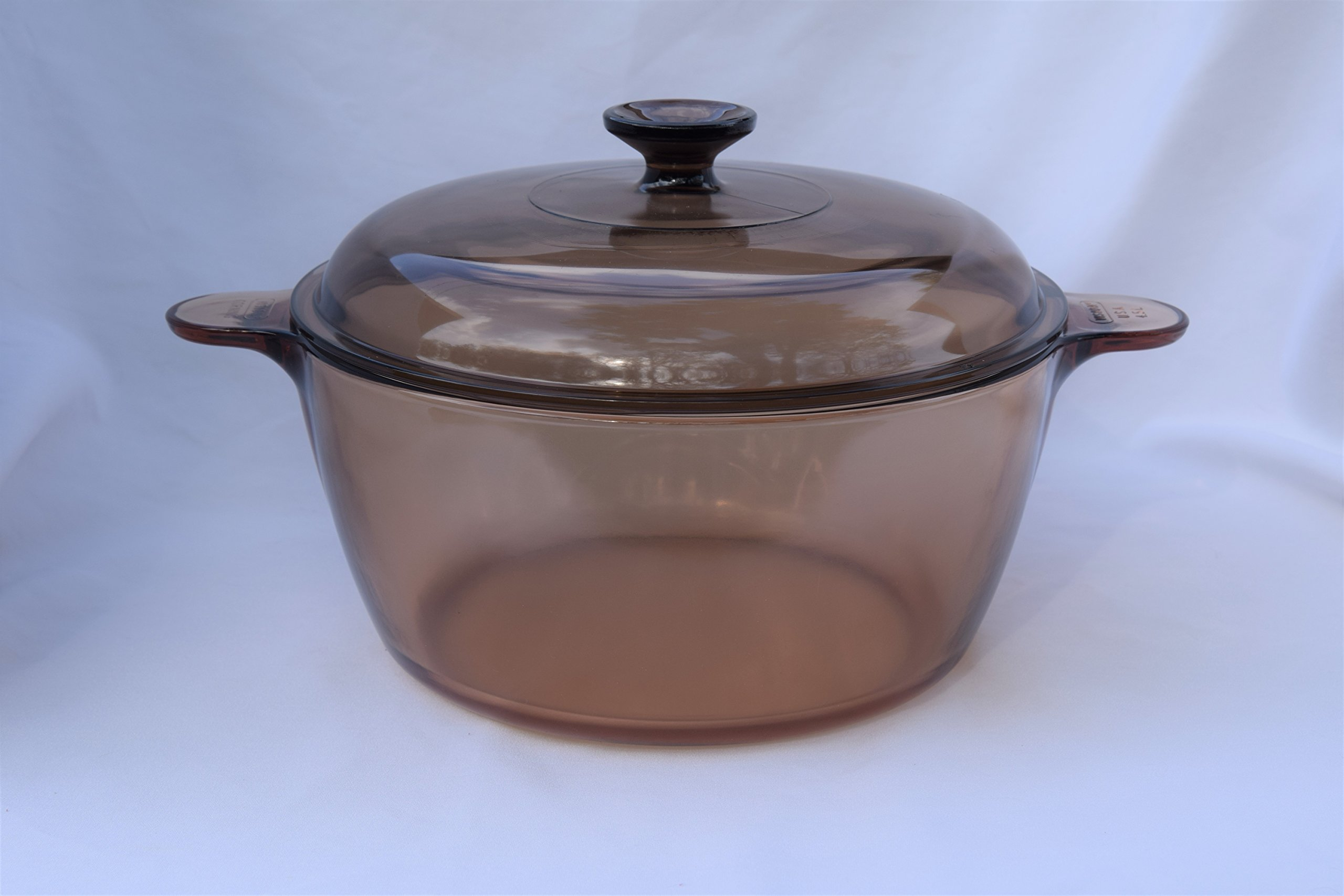 Vintage Corning Ware Pyrex VISION Visions Visionware AMBER ALL GLASS 4.75 Quart/4.5 Litre 10 1/2'' inch SAUCEPAN DUTCH OVEN ROASTER PAN + Cover/Lid stamped MADE IN USA
