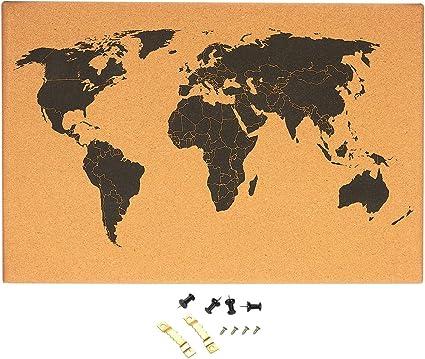 Tablón de corcho para pared con mapa del mundo detallado sin marco ...
