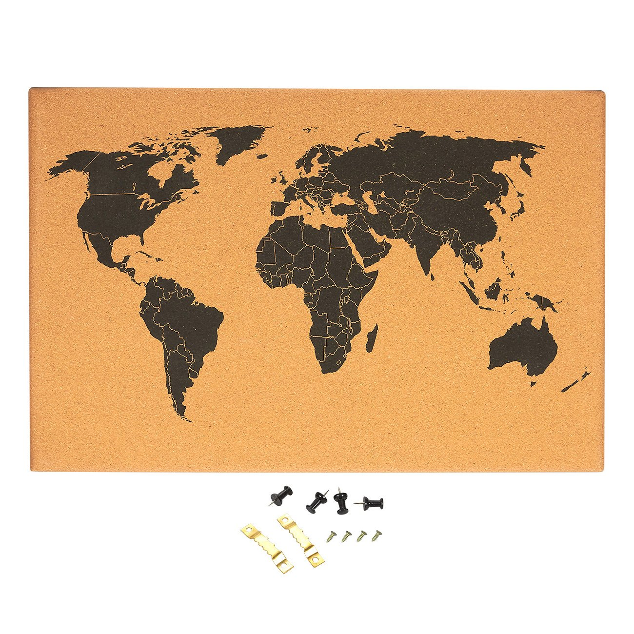 Cork Board Map of The World - Wall Mount Bulletin Board with Detailed World Map, Black Printed Frameless World Travel Map with Pins, 23.5 x 0.75 x 15.75 inches Juvale