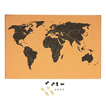 Amazon cork board map of the world wall mount bulletin cork board map of the world wall mount bulletin board with detailed world map gumiabroncs Choice Image