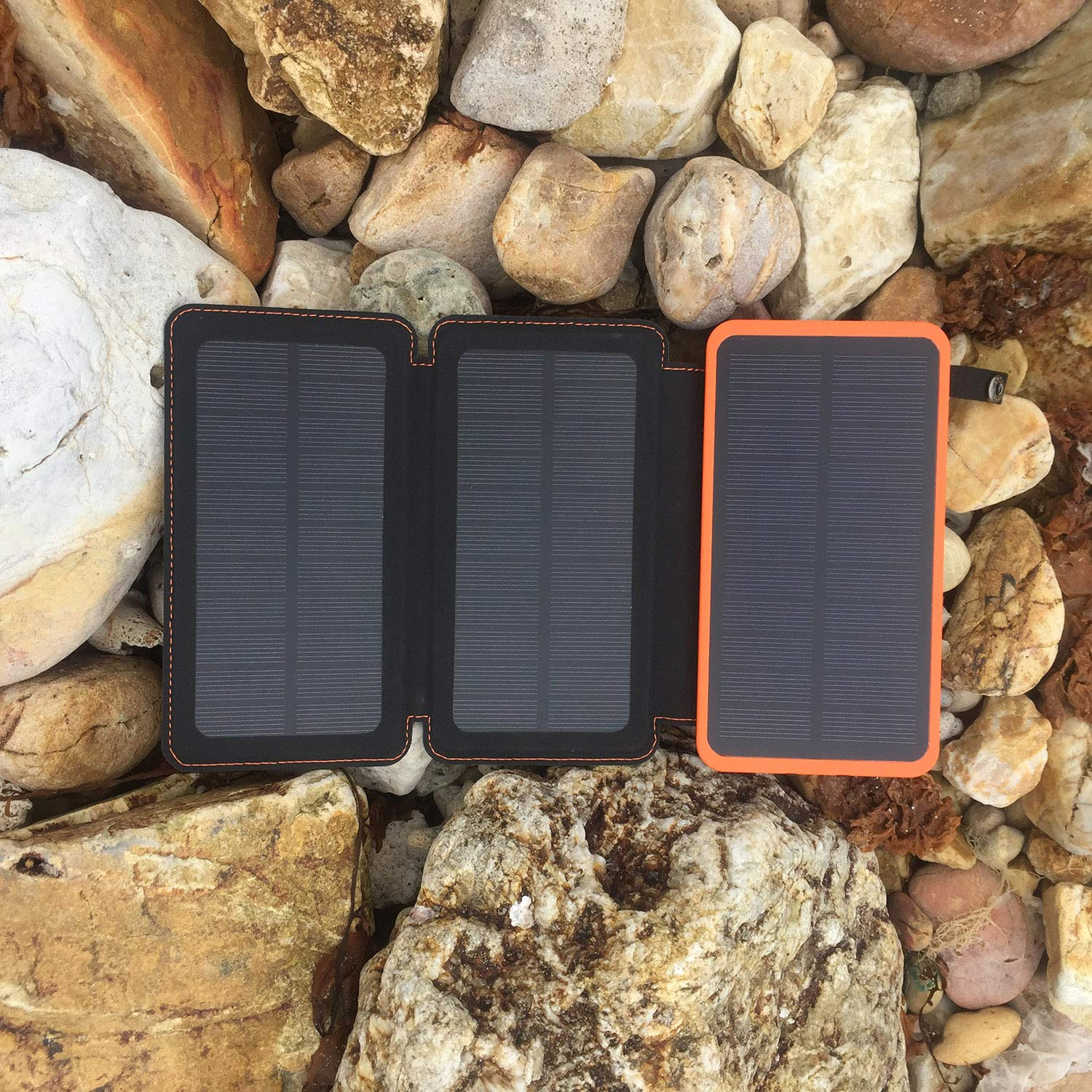 Solar Charger 24000mAh,Solar Power Bank Waterproof Dual USB Output with 3 Solar Panels External Battery Bank with Flashlight for iPhone,Samsung,iPad and Outdoor Camping(Orange) by WBPINE (Image #6)