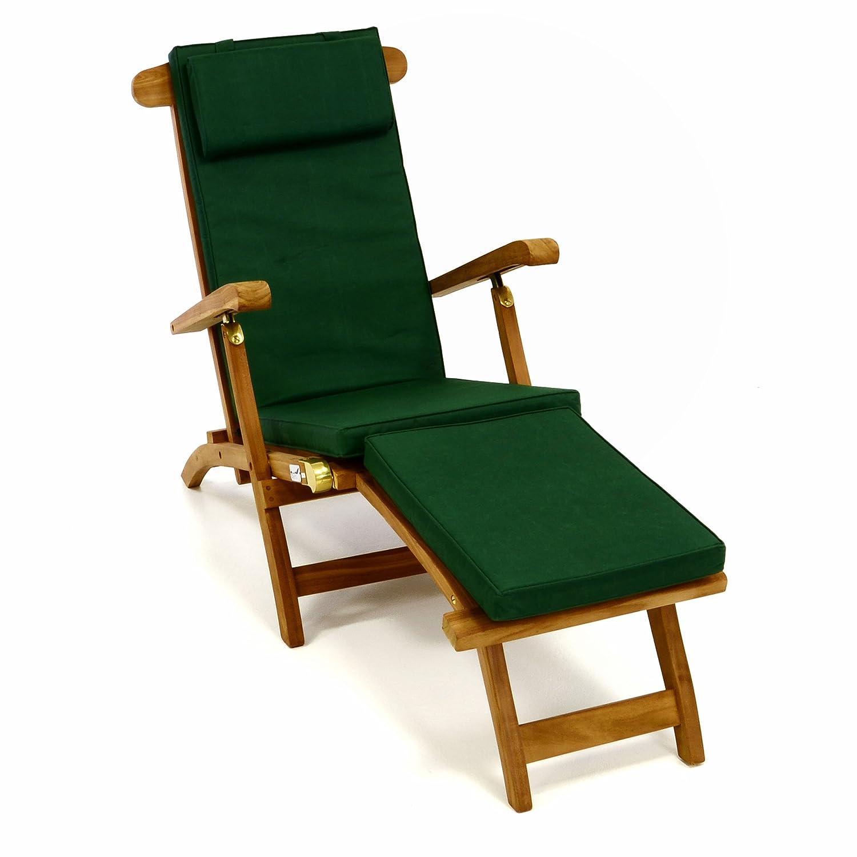 Divero Liegestuhl eleganter Deckchair Florentine Steamer Chair Teakholz Liegenauflage mit Kopfteil mit 4 Segmenten wasserabweisend Bezug abnehmbar mit Reißverschluss (dunkelgrün),