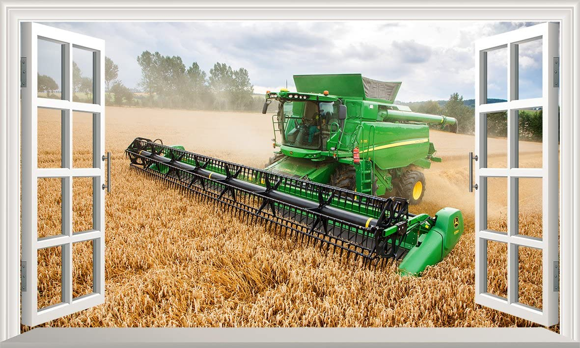 Combine Harvester Tractor 3D Magic Window Wall Art Self Adhesive Vinyl V1*