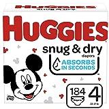 Huggies Snug & Dry Baby Diapers, Size 4, 184