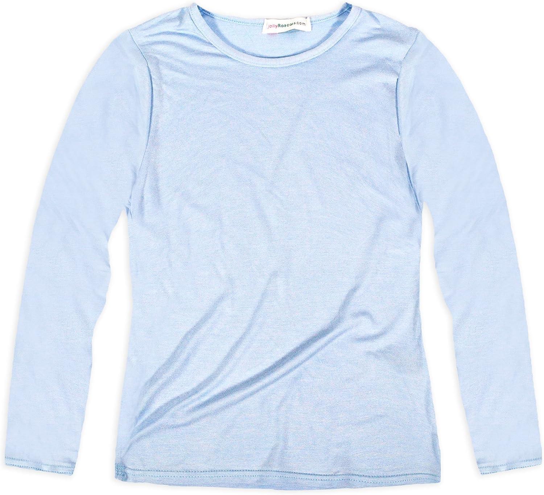 Jolly Rascals - Camiseta de viscosa para niña con cuello redondo y mangas largas, informal, lavable a máquina: Amazon.es: Ropa y accesorios