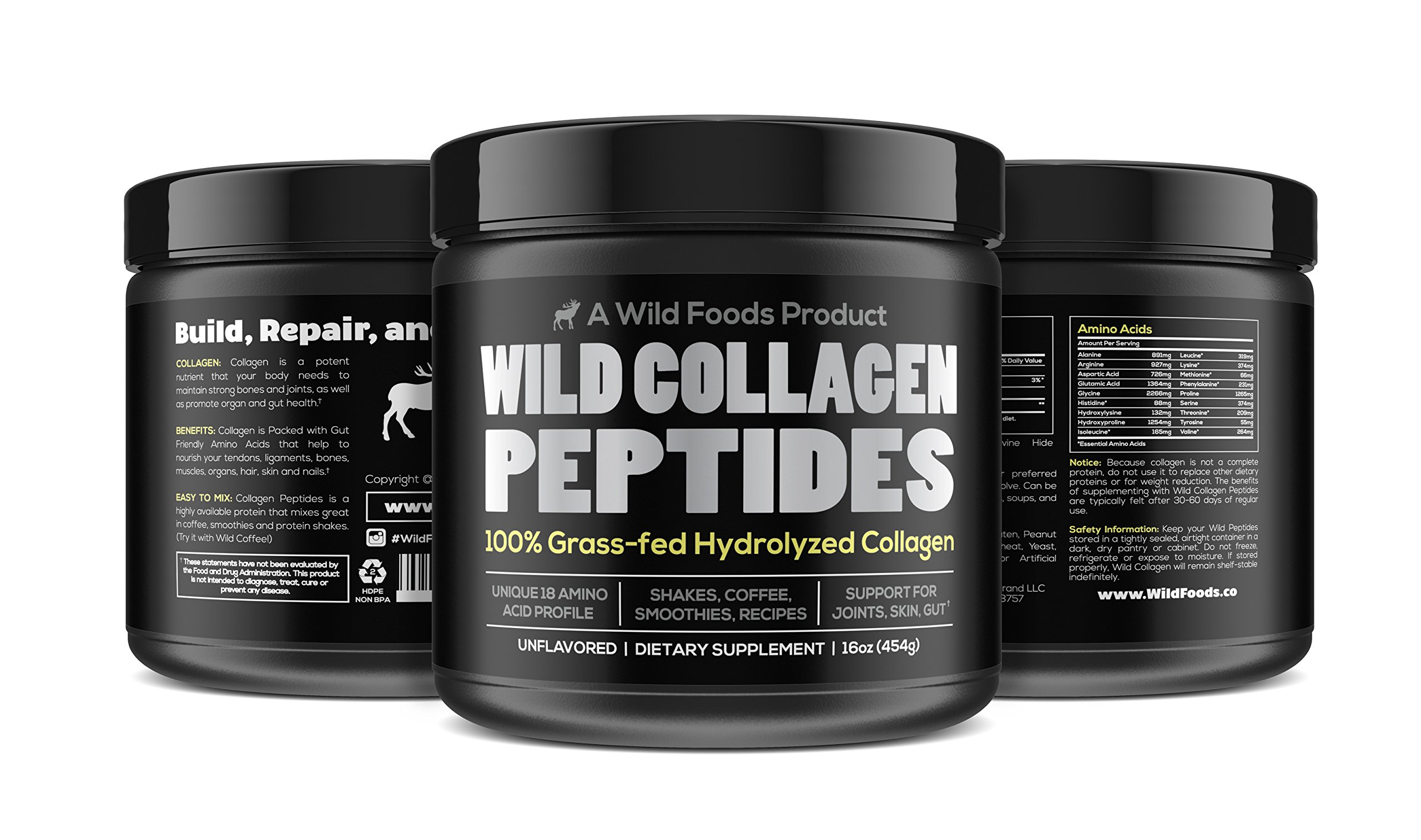 Collagen Peptides Powder by Wild Foods | Vital Type I & III Hydrolyzed Pasture-Raised Protein | Non-GMO, Dairy Free, Paleo & Keto, Unflavored (16 Ounce)