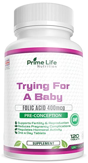 Pre-Conception   Trying for a Baby 2-in-1 Supplement   120 Tablets (4 Month  Supply) with Folic Acid 400mcg   Promoting a Healthy Pregnancy