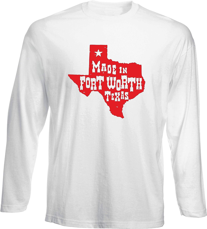 T-Shirt por los Hombre Manga Larga Blanca TSTEM0058 Made IN Fort Worth Texas: Amazon.es: Ropa y accesorios