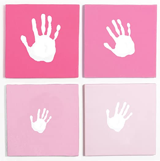 Pearhead Handprint Wall Art Set, Pink