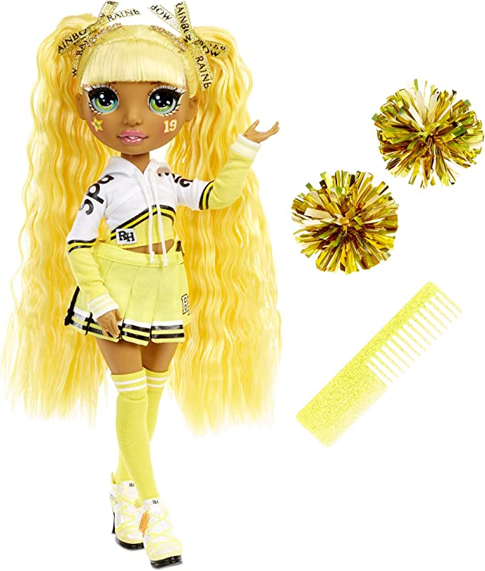 Rainbow Surprise High Cheer Sunny Madison – Yellow Fashion Doll with Pom Poms, Cheerleader Doll, Toys for Kids 6-12 Years Old (572053EUC)