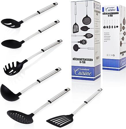 plastica effetto legno utensili da cucina Stone Line 18241/8/pezzi set di utensili da cucina con supporto rotante 18.9/x 11.9/x 34.9/cm naturale