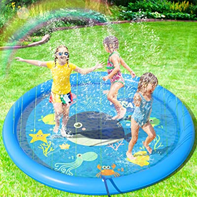 "Peradix Sprinkler Splash Pad 68"", Water Splash Play Mat for Kids Toddlers Dogs, Baby Infant Splash Pad Wadding Pool, Kiddie Baby Pool, Outdoor Backyard Fountain Play Mat for 1-12 Year Old Boys Girls: Toys & Games"