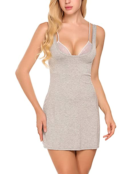 Avidlove Women Full Slips Cotton Blend V Neck Straight Dress Nightwear