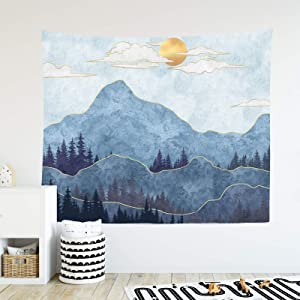 """Mountain Tapestry Sunset Nature Landscape Forest Tapestry Wall Hanging Home Decor for Bedroom Living Room (51.2"""" x 59.1"""", SteelBlue)"""