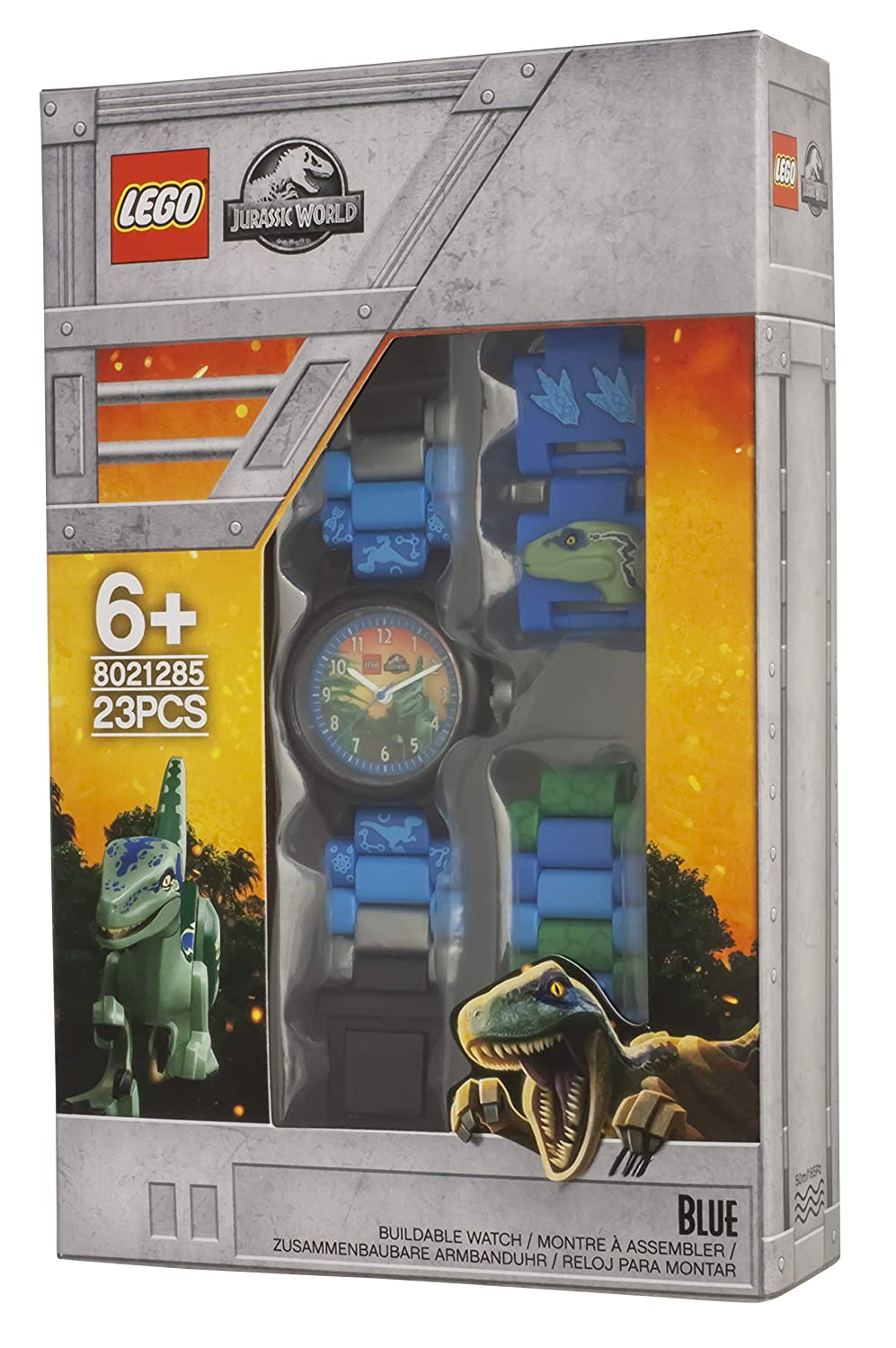Amazon.com: LEGO Watches and Clocks Boys Jurassic World Blue Quartz Plastic Watch, Color:Blue (Model: 8021285): Watches