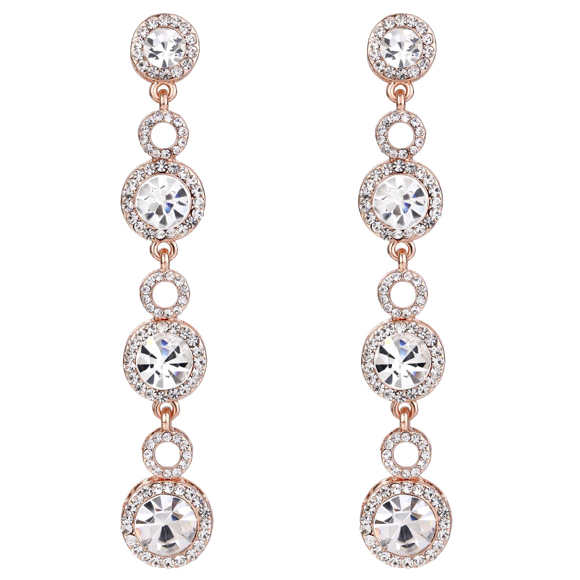 BriLove Rose-Gold-Toned Dangle Earrings Women's Wedding Bridal Crystal Chandelier Long Earrings Clear