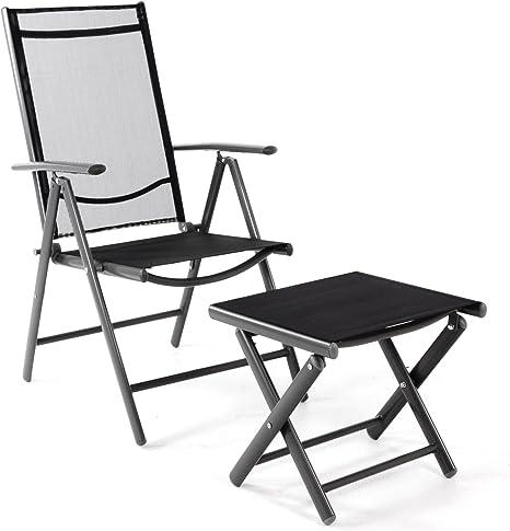 Amazon De Nexos Klappstuhl Gartenstuhl Campingstuhl Liegestuhl Mit Hocker Rahmen Anthrazit Sitzmobel Garten Terrasse Balkon Klappbarer Stuhl Aus Aluminium Kunststoff Schwarz