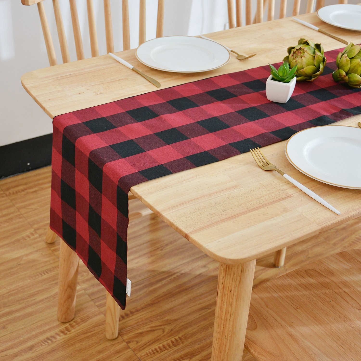 NATUS WEAVER 2 Side Red & Black Buffalo Check Decorative Table Runner for Family Dinners or Gatherings, Indoor or Outdoor Parties, Everyday Use (12 x 72, Seats 4-6 People),