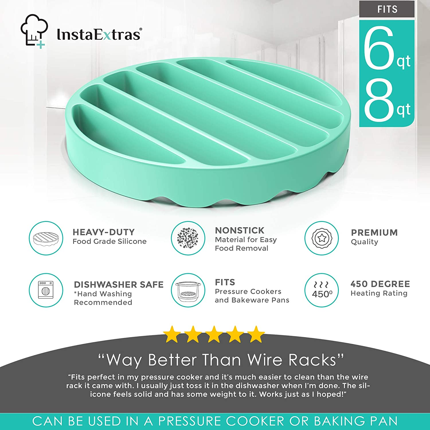 Round Silicon Roasting Accessories Compatible With Oven Crock Pot Trivet Roaster Insert Racks For Cooking Meat Silicone Roasting Rack For Pressure Cooker Baking Instant Pot 6 Qt And 8 Quart