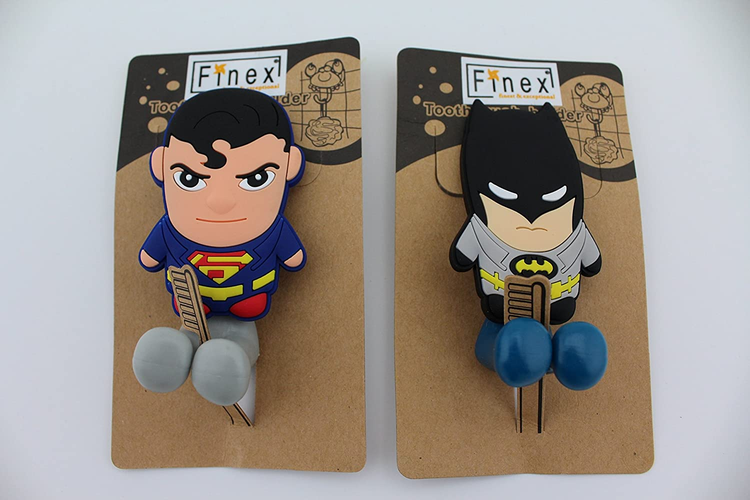 Amazon.com: FinexSet of 2 DC COMICS SUPERHEROES Batman vs & Superman Toothbrush Holders with Suction Cup for wall in bathroom at home: Home & Kitchen