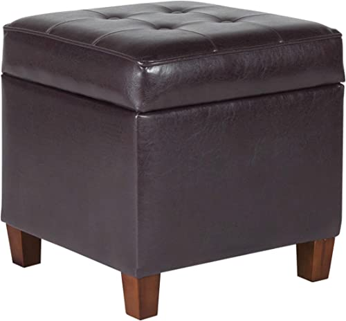HomePop Leatherette Tufted Square Storage Ottoman
