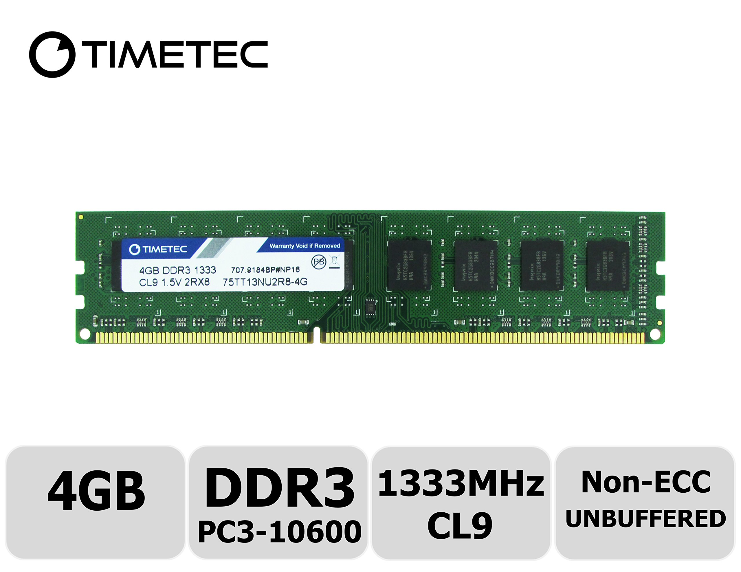 Timetec Hynix IC 4GB DDR3 1333MHz PC3-10600 Non ECC Unbuffered 1.5V CL9 2R8 Dual Rank 240 Pin UDIMM Desktop PC Computer Memory Ram Module Upgrade (Low Density 4GB)