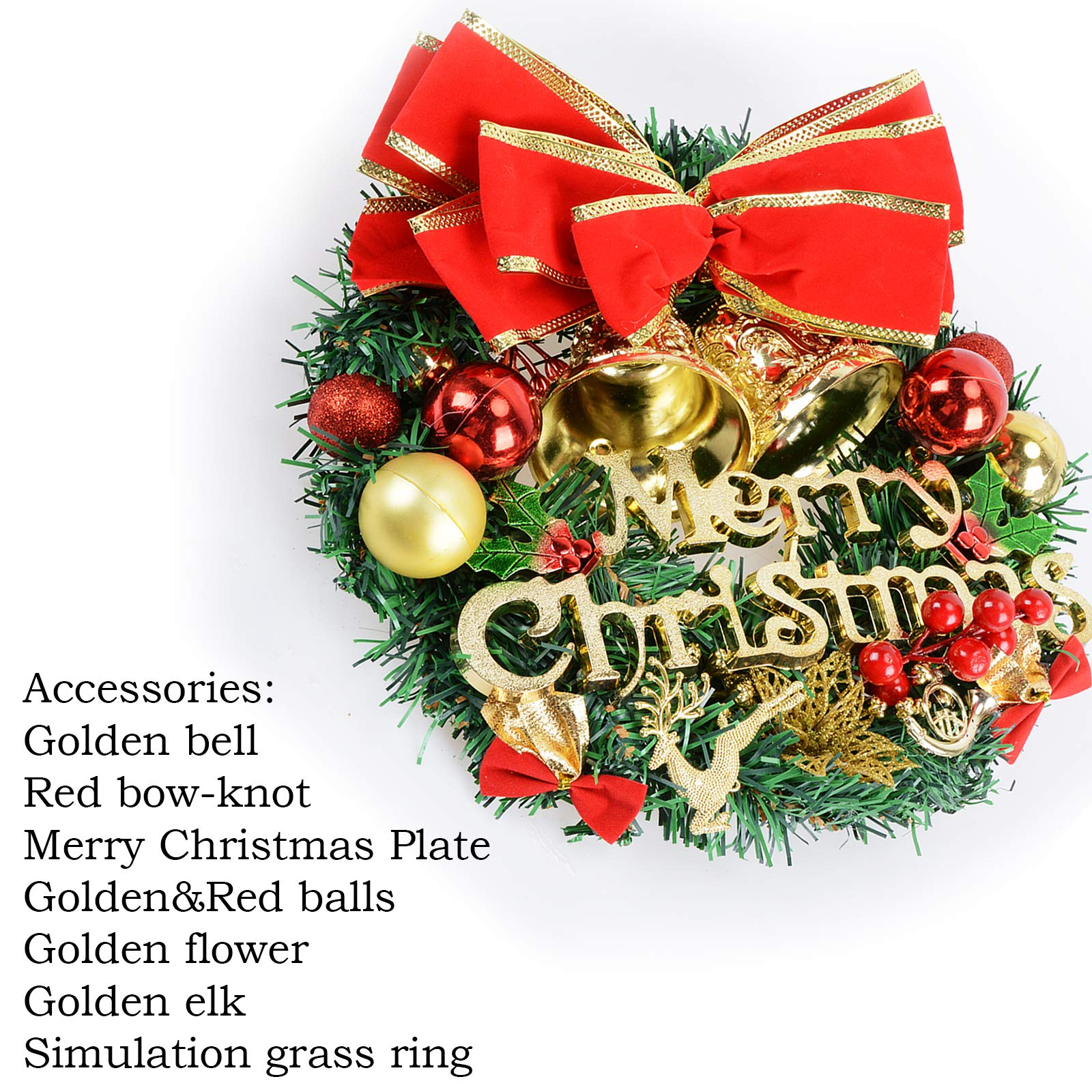 Voilamart Christmas Wreath 30CM/12Inch Artificial Garland with Bells Baubles and Red Bowknot Xmas Decorations for Fireplaces Stairs Wall Door
